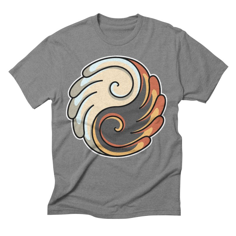 Yin Yang Angel and Demon Wings Men's Triblend T-Shirt by Flaming Imp's Artist Shop