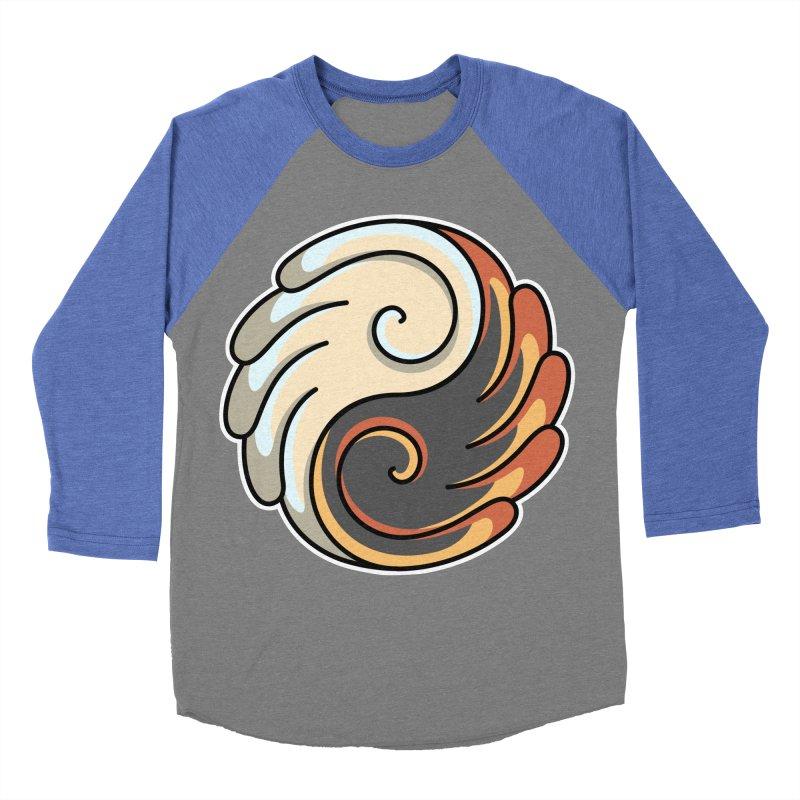 Yin Yang Angel and Demon Wings Women's Baseball Triblend Longsleeve T-Shirt by Flaming Imp's Artist Shop