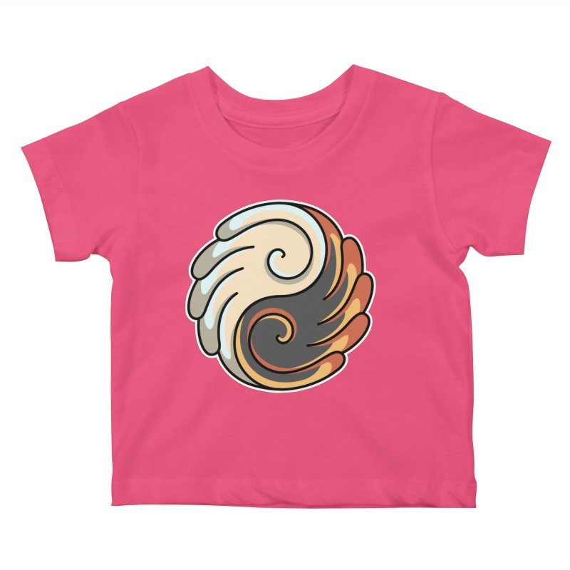 Yin Yang Angel and Demon Wings Kids Baby T-Shirt by Flaming Imp's Artist Shop