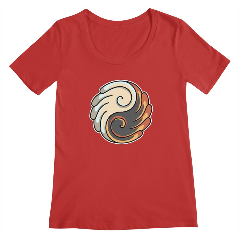 Yin Yang Angel and Demon Wings Women's Regular Scoop Neck by Flaming Imp's Artist Shop