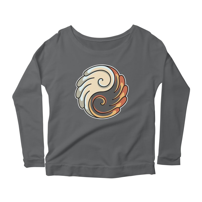 Yin Yang Angel and Demon Wings Women's Scoop Neck Longsleeve T-Shirt by Flaming Imp's Artist Shop