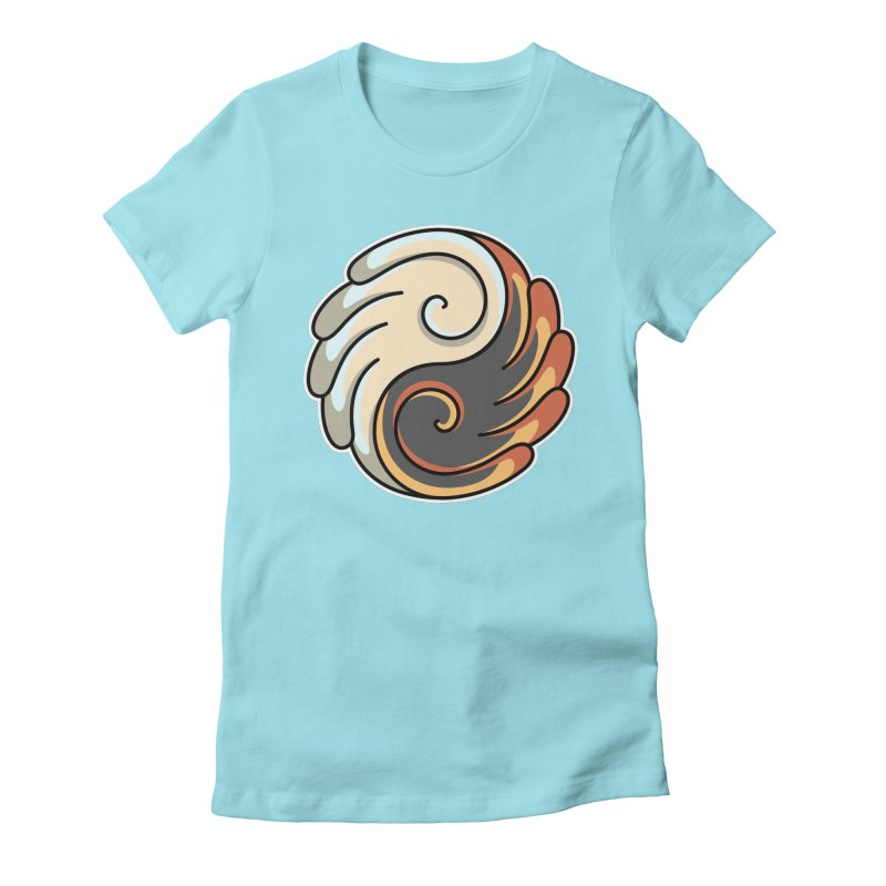 Yin Yang Angel and Demon Wings Women's Fitted T-Shirt by Flaming Imp's Artist Shop