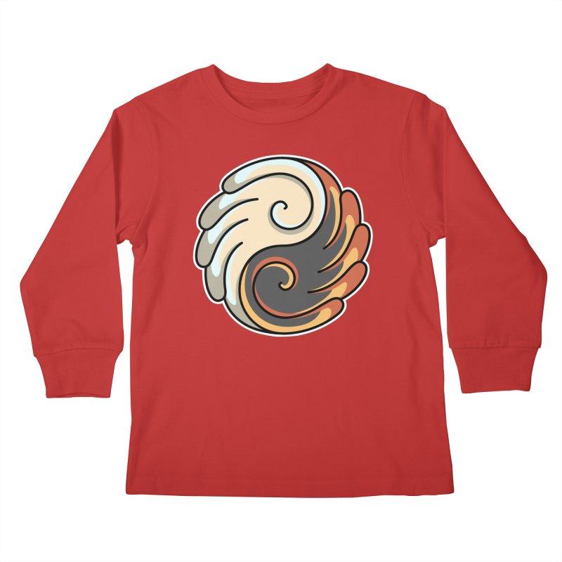 Yin Yang Angel and Demon Wings Kids Longsleeve T-Shirt by Flaming Imp's Artist Shop