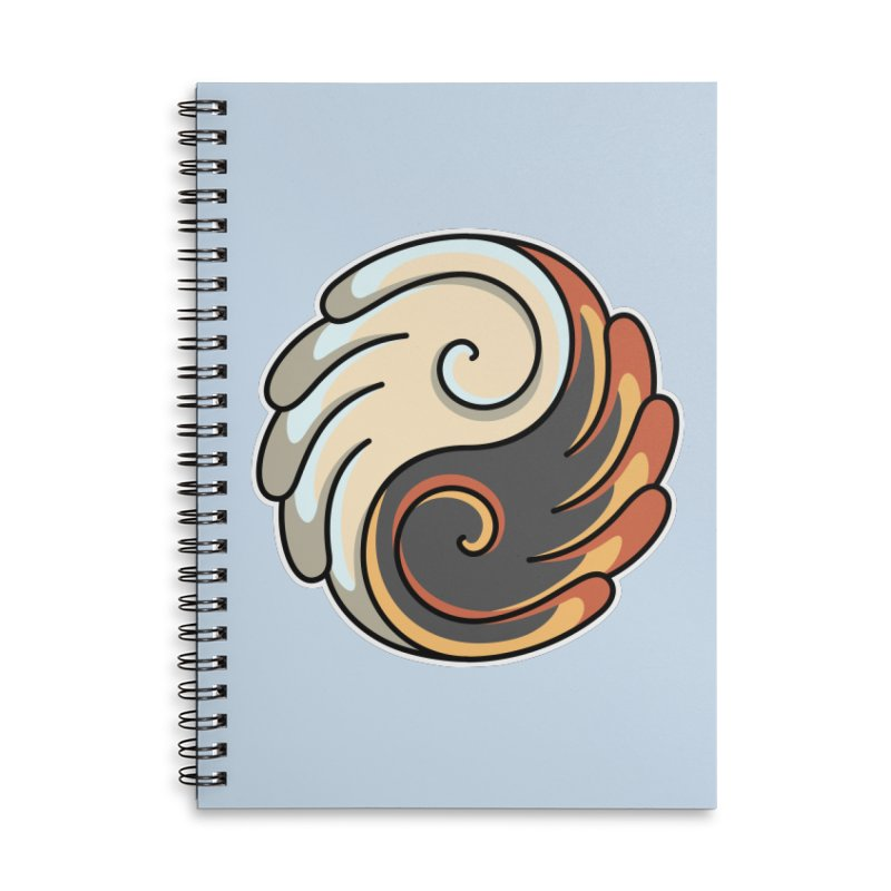 Yin Yang Angel and Demon Wings Accessories Lined Spiral Notebook by Flaming Imp's Artist Shop