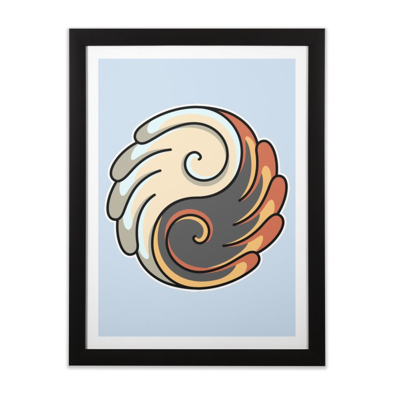 Yin Yang Angel and Demon Wings Home Framed Fine Art Print by Flaming Imp's Artist Shop