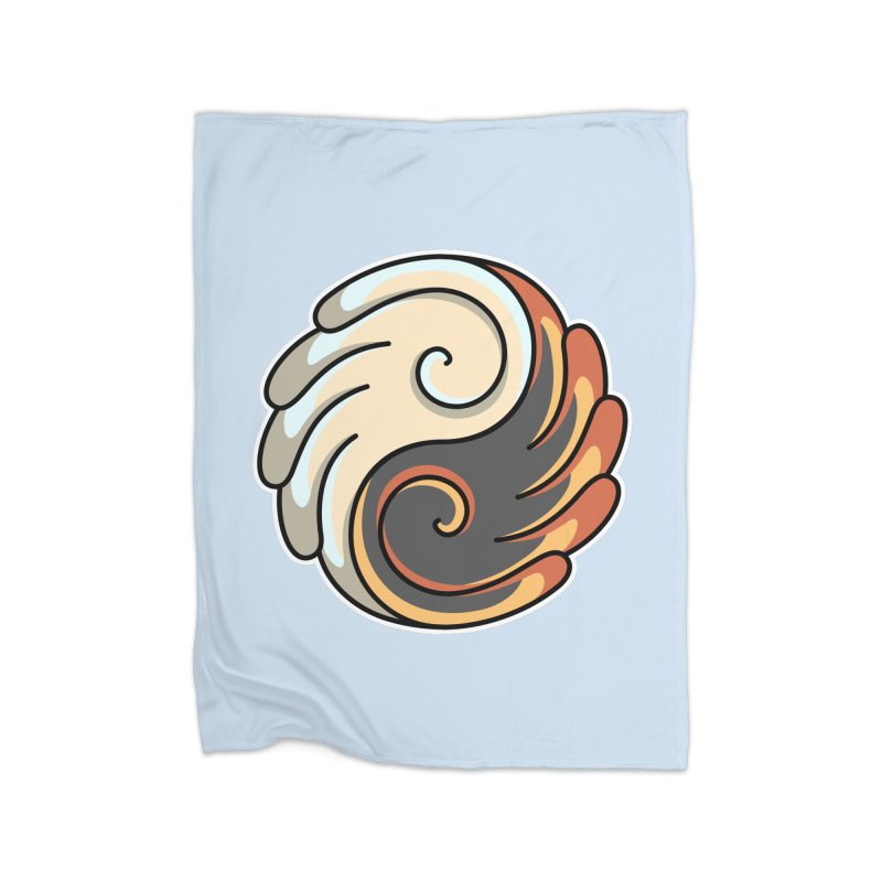 Yin Yang Angel and Demon Wings Home Fleece Blanket Blanket by Flaming Imp's Artist Shop