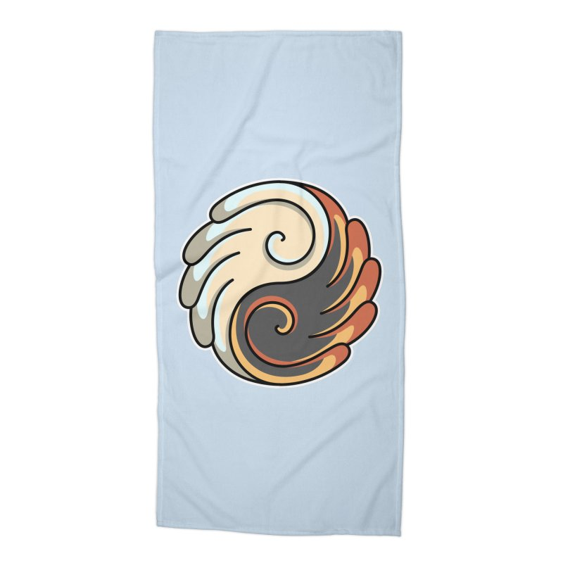 Yin Yang Angel and Demon Wings Accessories Beach Towel by Flaming Imp's Artist Shop