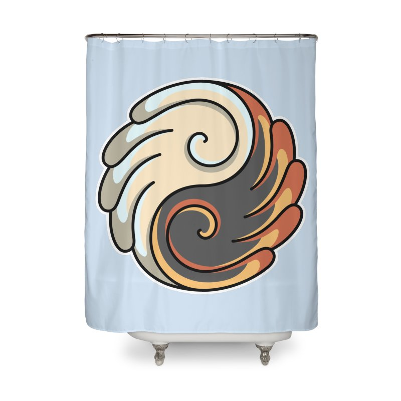 Yin Yang Angel and Demon Wings Home Shower Curtain by Flaming Imp's Artist Shop