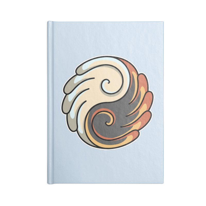 Yin Yang Angel and Demon Wings Accessories Lined Journal Notebook by Flaming Imp's Artist Shop