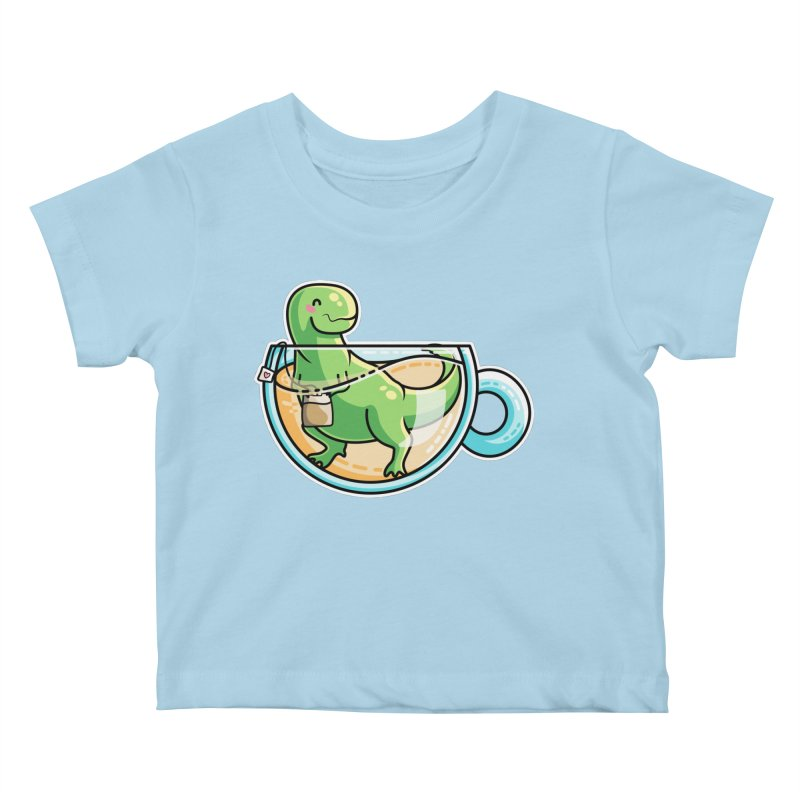 Tea Rex Kids Baby T-Shirt by Flaming Imp's Artist Shop