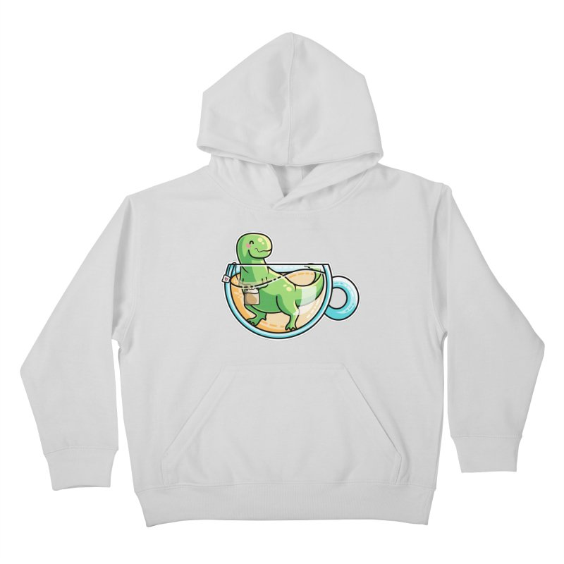 Tea Rex Kids Pullover Hoody by Flaming Imp's Artist Shop