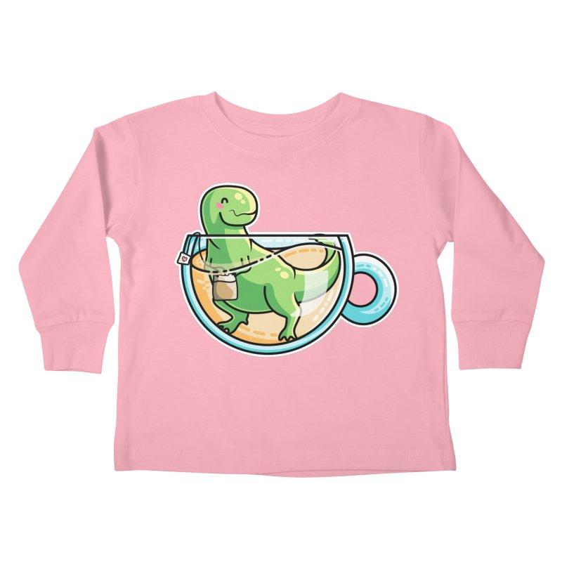 Tea Rex Kids Toddler Longsleeve T-Shirt by Flaming Imp's Artist Shop