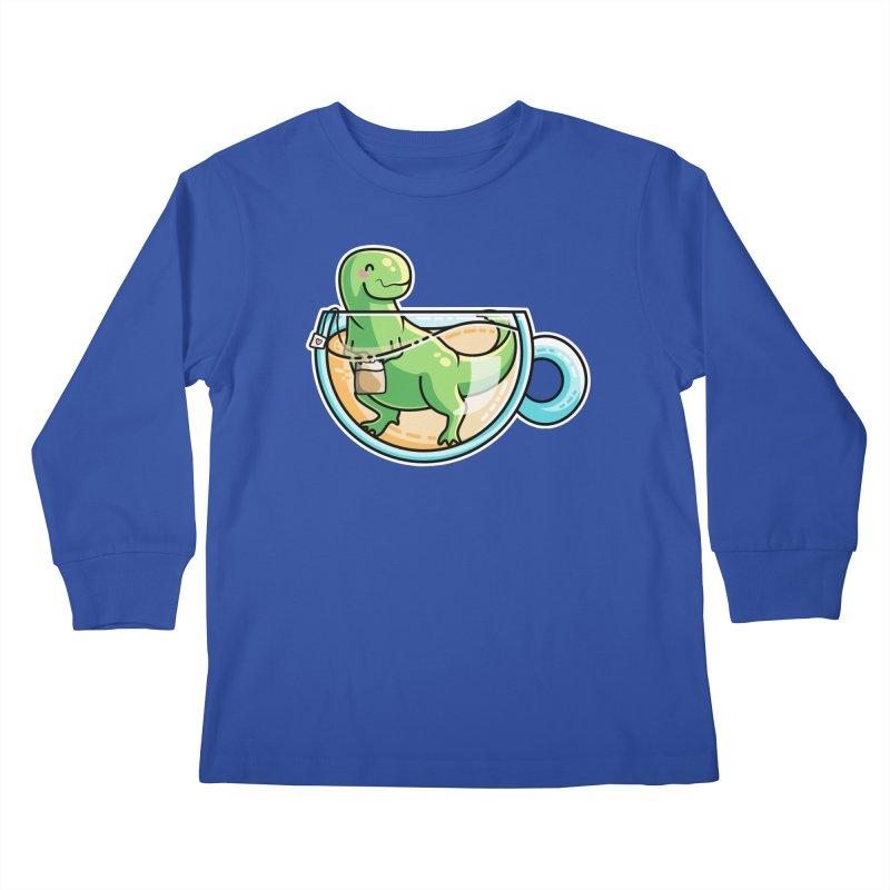 Tea Rex Kids Longsleeve T-Shirt by Flaming Imp's Artist Shop