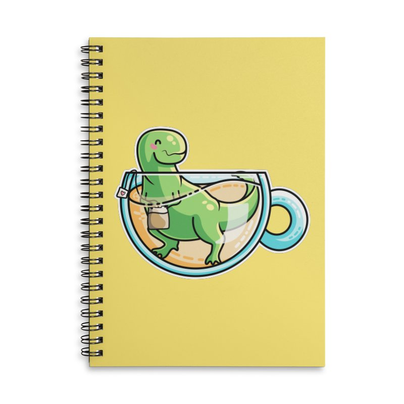 Tea Rex Accessories Lined Spiral Notebook by Flaming Imp's Artist Shop
