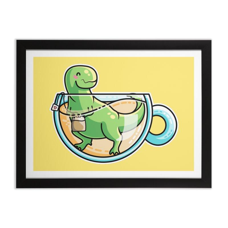 Tea Rex Home Framed Fine Art Print by Flaming Imp's Artist Shop