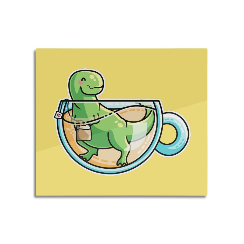 Tea Rex Home Mounted Acrylic Print by Flaming Imp's Artist Shop