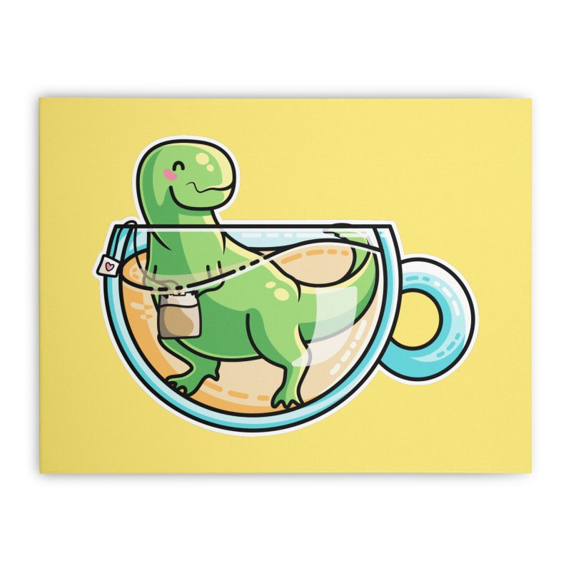 Tea Rex Home Stretched Canvas by Flaming Imp's Artist Shop