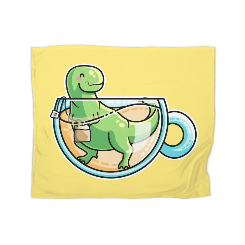 Tea Rex Home Fleece Blanket Blanket by Flaming Imp's Artist Shop