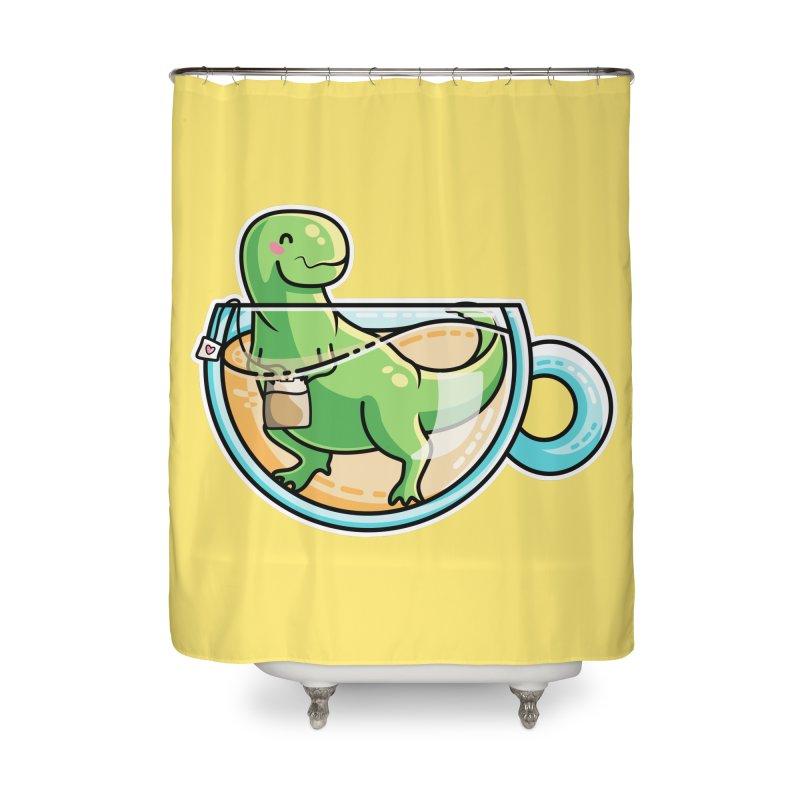 Tea Rex Home Shower Curtain by Flaming Imp's Artist Shop