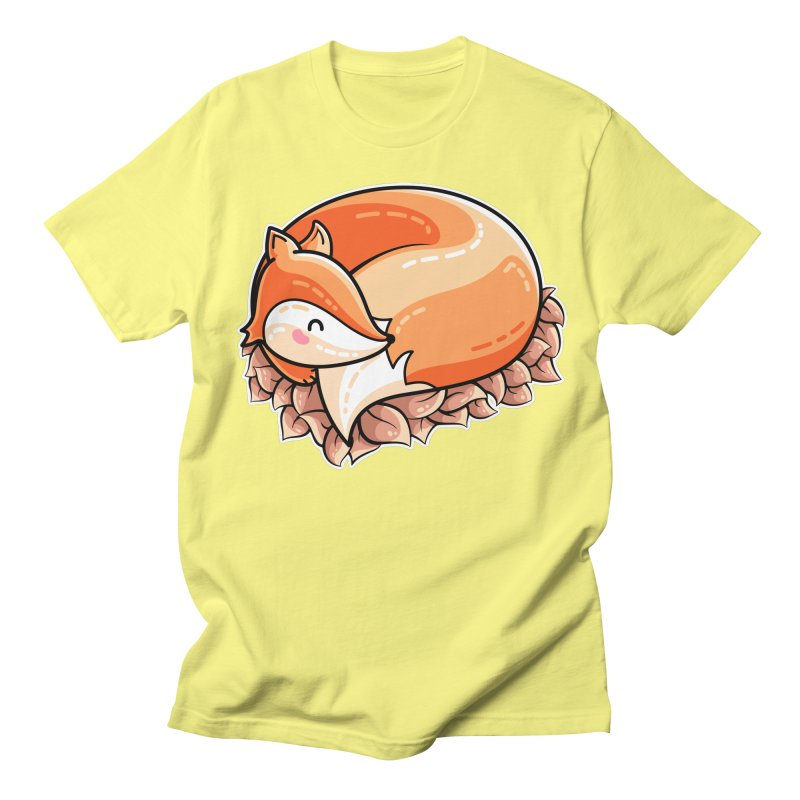 Kawaii Cute Fox Curled in Leaves Men's Regular T-Shirt by Flaming Imp's Artist Shop