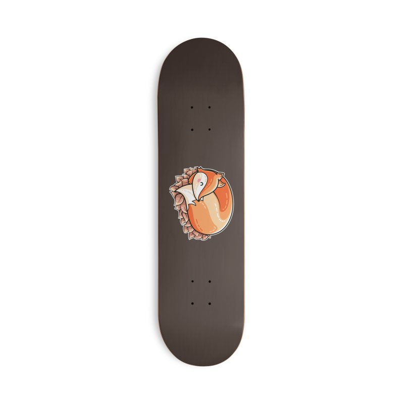 Kawaii Cute Fox Curled in Leaves Accessories Deck Only Skateboard by Flaming Imp's Artist Shop