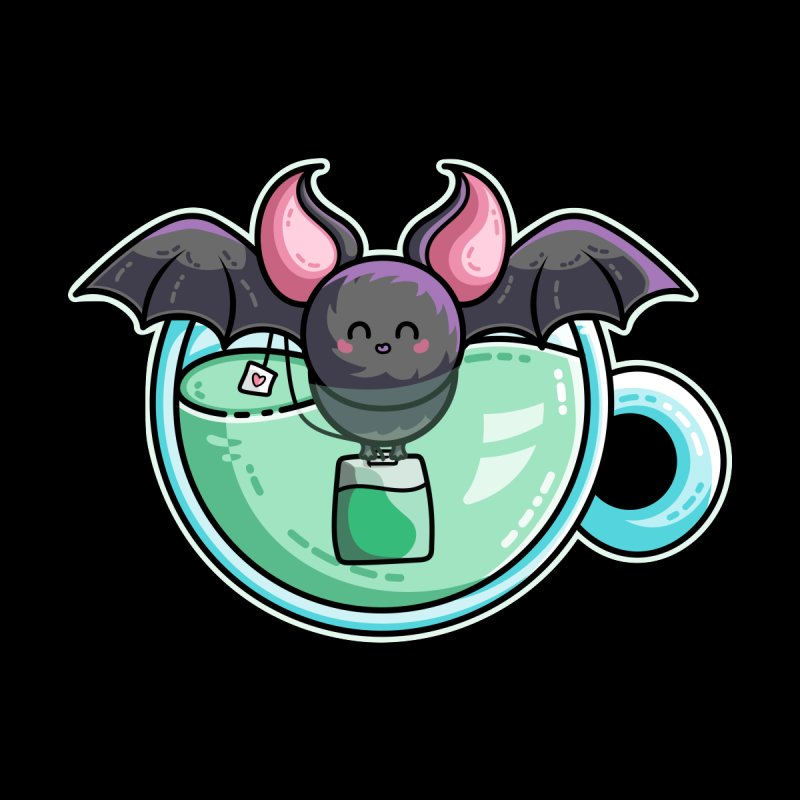 Bat-tea Pun of Kawaii Cute Bat and Green Tea by Flaming Imp's Artist Shop