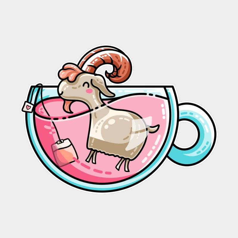 Goat-tea Kawaii Cute Tea Goatee Pun by Flaming Imp's Artist Shop