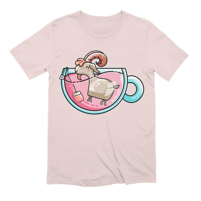 Goat-tea Kawaii Cute Tea Goatee Pun Men's Extra Soft T-Shirt by Flaming Imp's Artist Shop