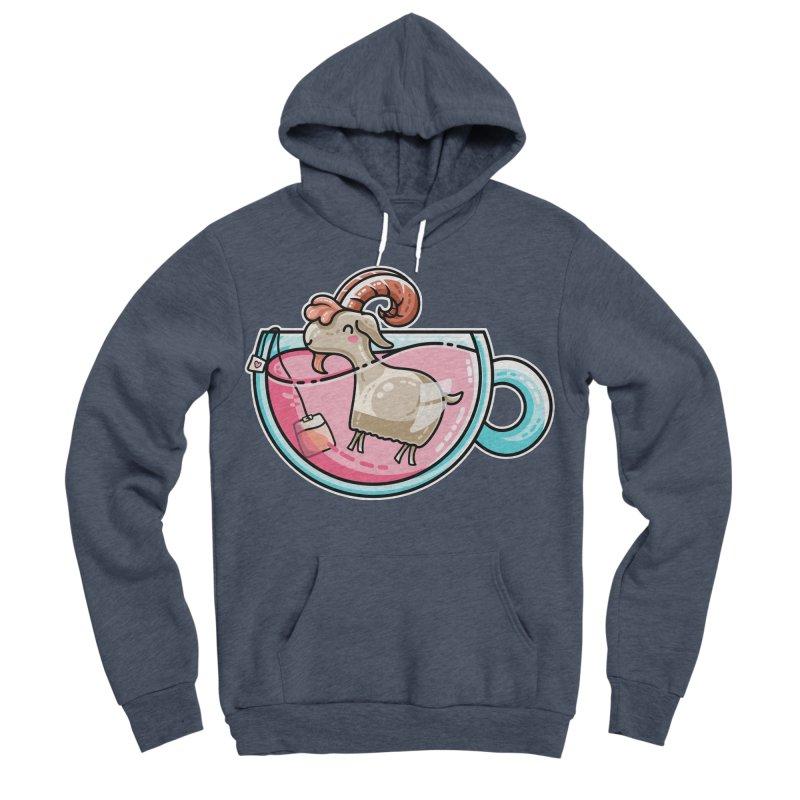 Goat-tea Kawaii Cute Tea Goatee Pun Men's Sponge Fleece Pullover Hoody by Flaming Imp's Artist Shop