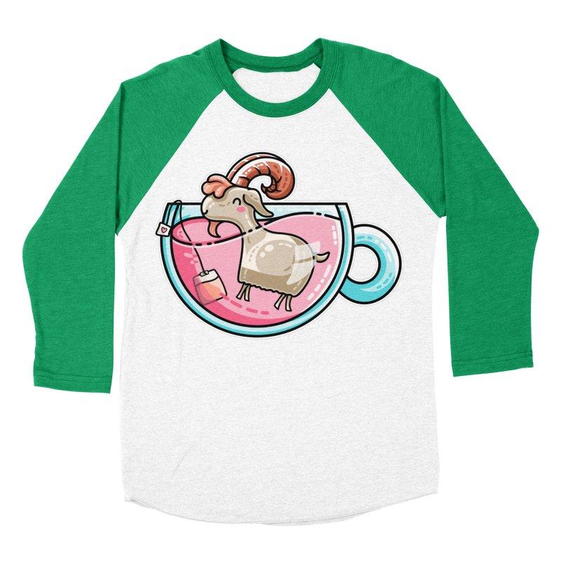 Goat-tea Kawaii Cute Tea Goatee Pun Women's Baseball Triblend Longsleeve T-Shirt by Flaming Imp's Artist Shop