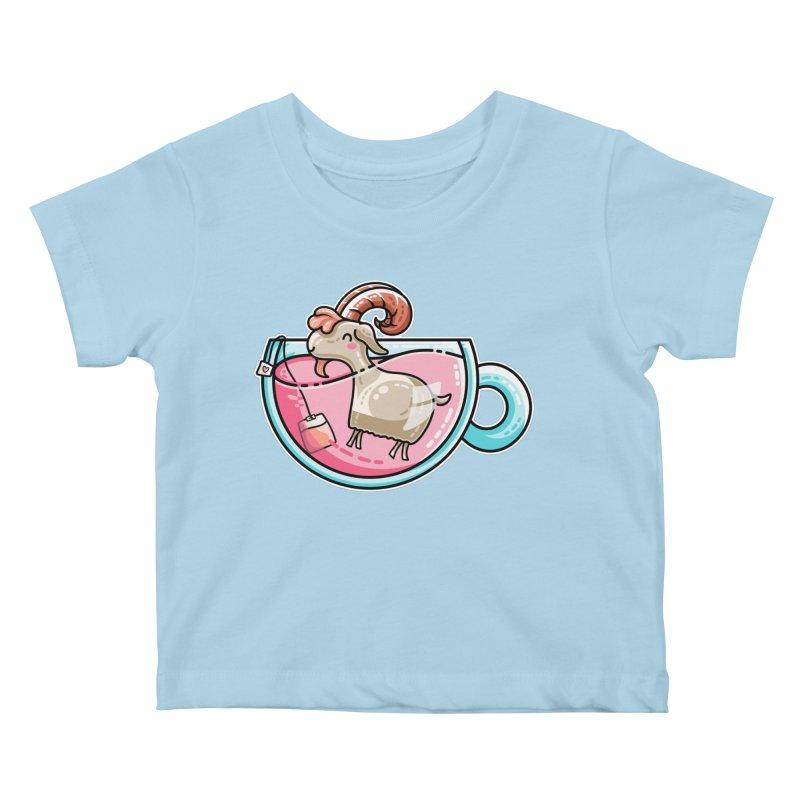 Goat-tea Kawaii Cute Tea Goatee Pun Kids Baby T-Shirt by Flaming Imp's Artist Shop