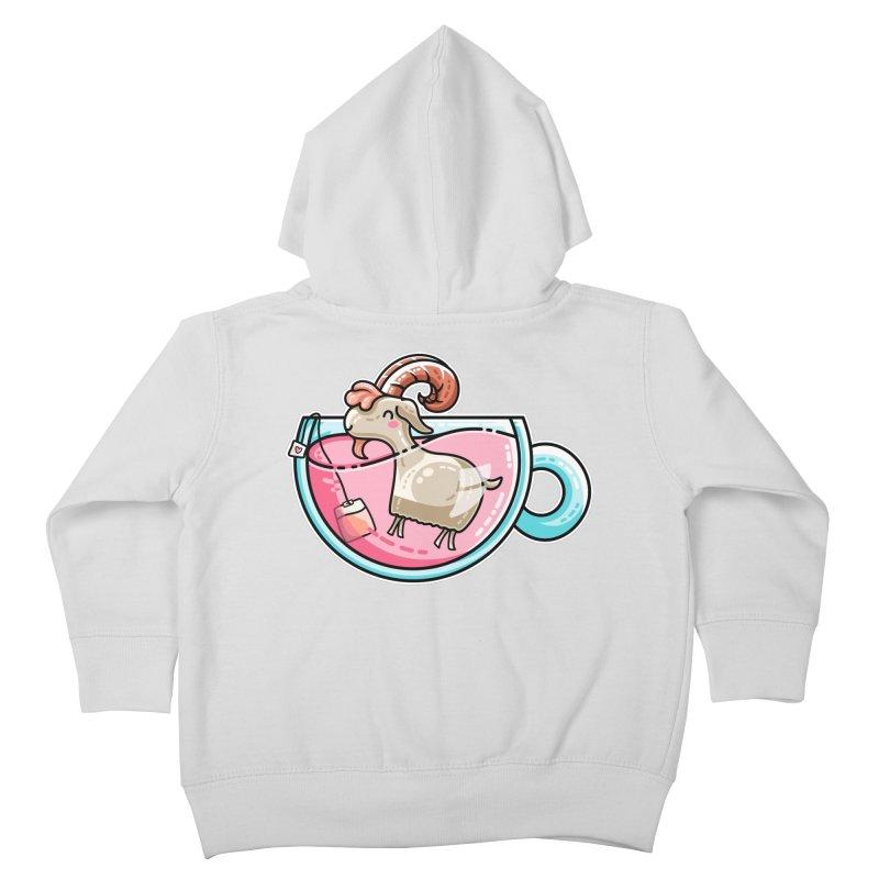 Goat-tea Kawaii Cute Tea Goatee Pun Kids Toddler Zip-Up Hoody by Flaming Imp's Artist Shop