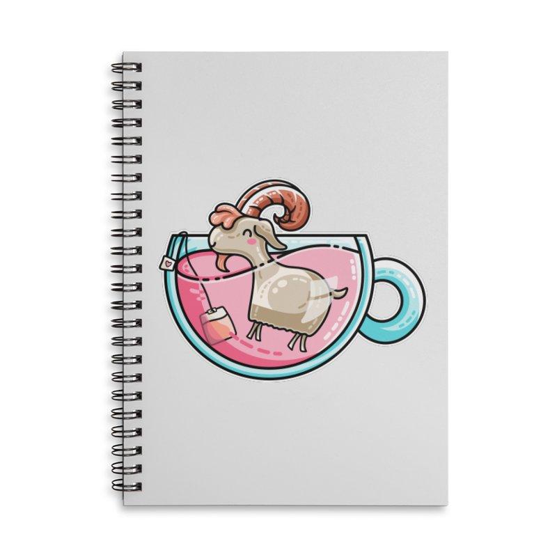 Goat-tea Kawaii Cute Tea Goatee Pun Accessories Lined Spiral Notebook by Flaming Imp's Artist Shop
