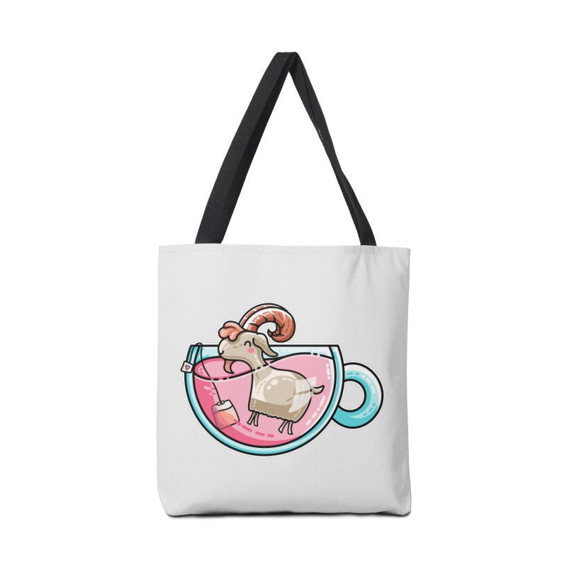 Goat-tea Kawaii Cute Tea Goatee Pun Accessories Tote Bag Bag by Flaming Imp's Artist Shop