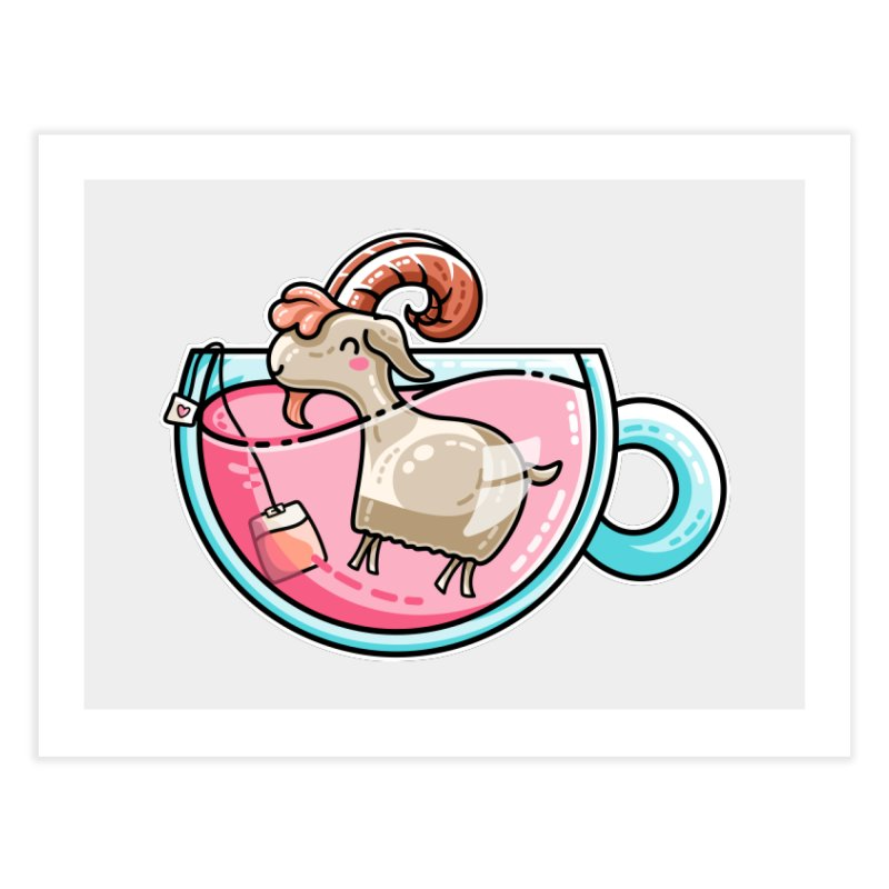Goat-tea Kawaii Cute Tea Goatee Pun Home Fine Art Print by Flaming Imp's Artist Shop