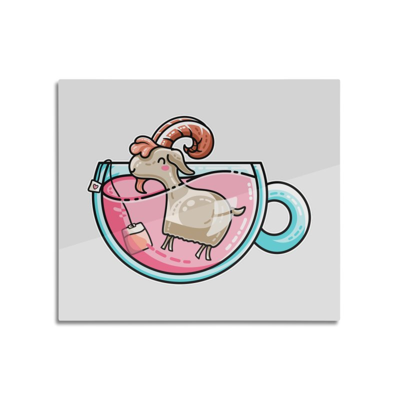 Goat-tea Kawaii Cute Tea Goatee Pun Home Mounted Aluminum Print by Flaming Imp's Artist Shop