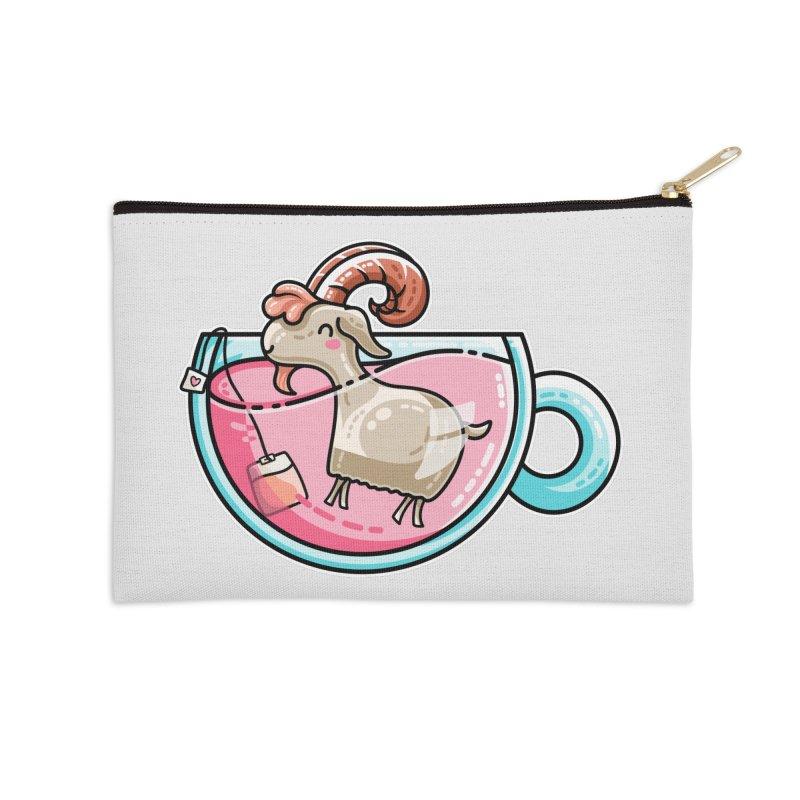 Goat-tea Kawaii Cute Tea Goatee Pun Accessories Zip Pouch by Flaming Imp's Artist Shop