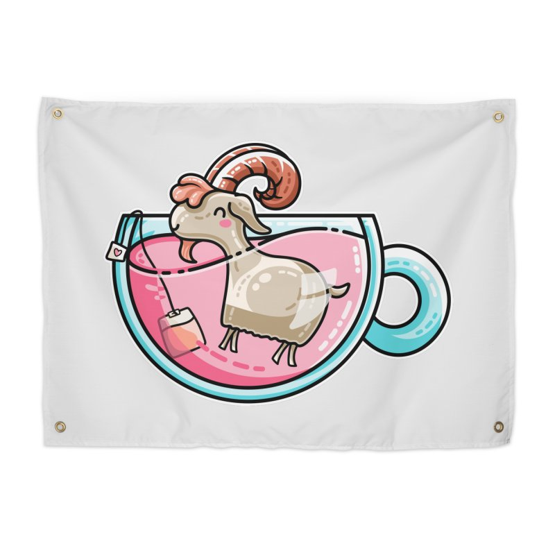 Goat-tea Kawaii Cute Tea Goatee Pun Home Tapestry by Flaming Imp's Artist Shop
