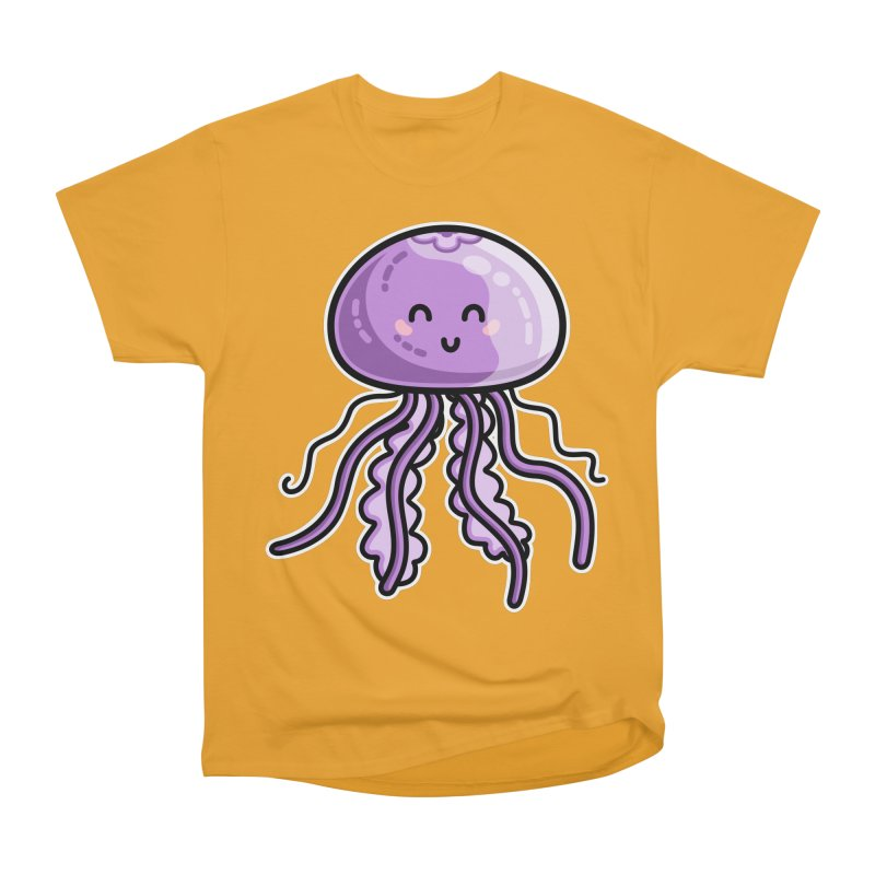 Kawaii Cute Jellyfish Women's Heavyweight Unisex T-Shirt by Flaming Imp's Artist Shop