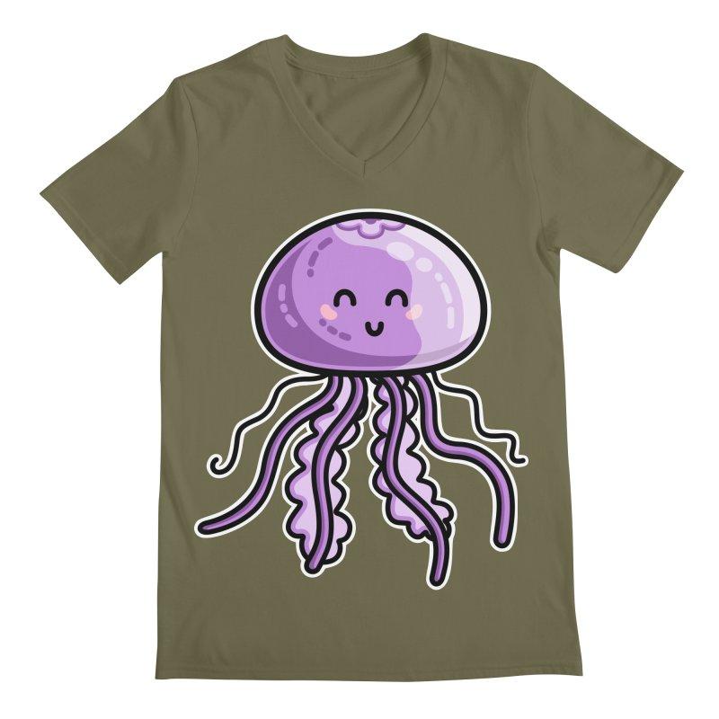 Kawaii Cute Jellyfish Men's Regular V-Neck by Flaming Imp's Artist Shop
