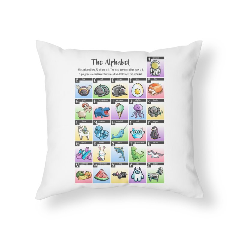 The Alphabet in Kawaii Cute Style Home Throw Pillow by Flaming Imp's Artist Shop