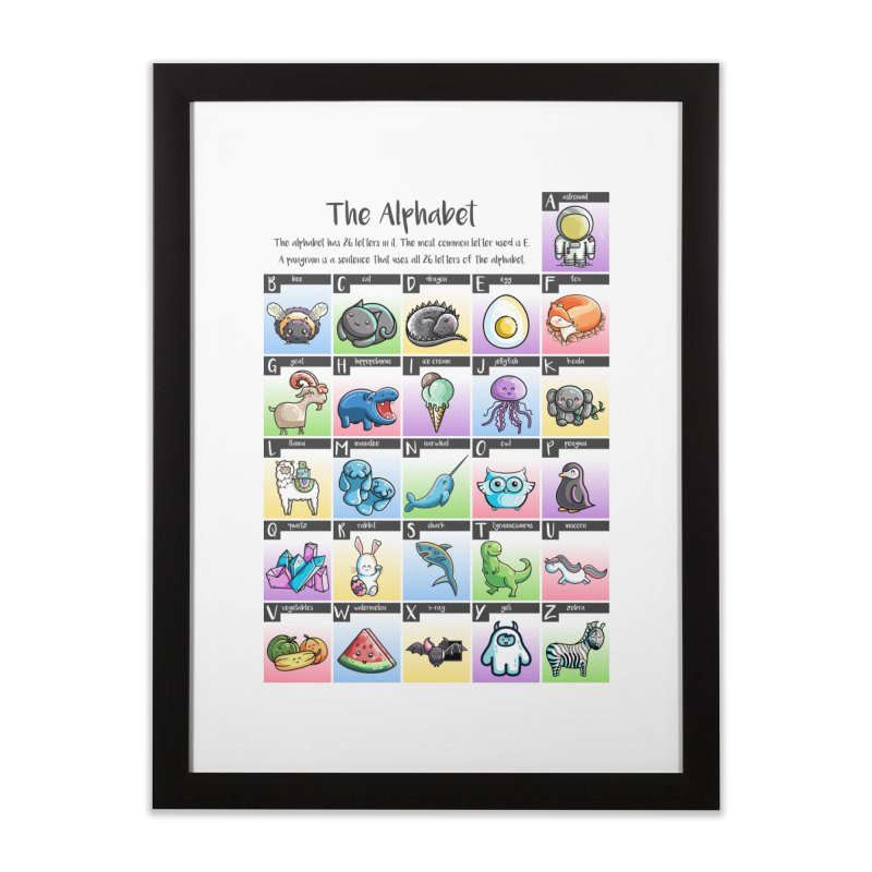 The Alphabet in Kawaii Cute Style Home Framed Fine Art Print by Flaming Imp's Artist Shop