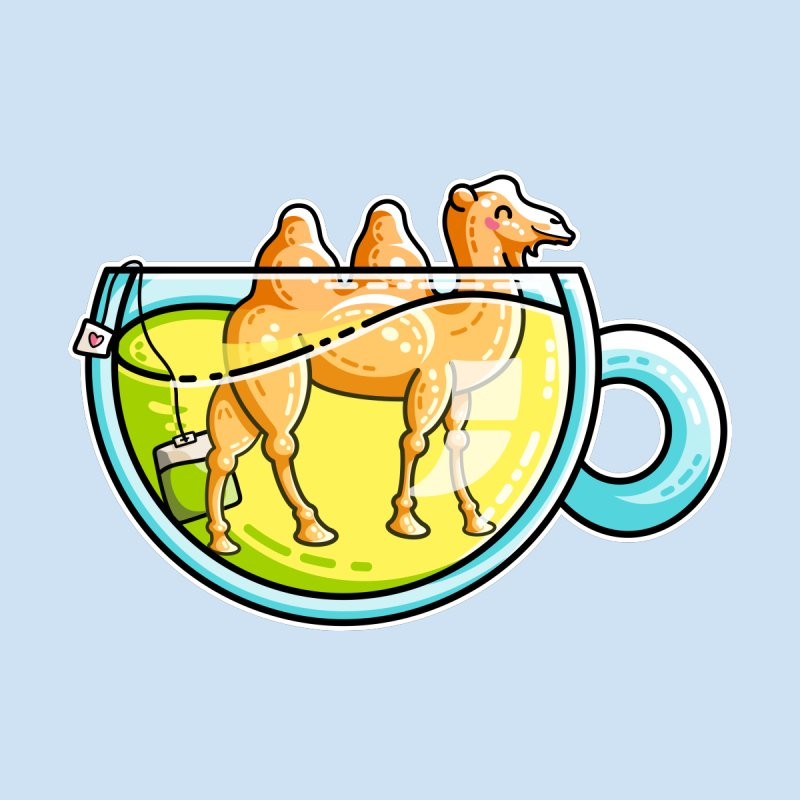 Camel-Mile-Tea Kawaii Cute Chamomile Tea Pun by Flaming Imp's Artist Shop
