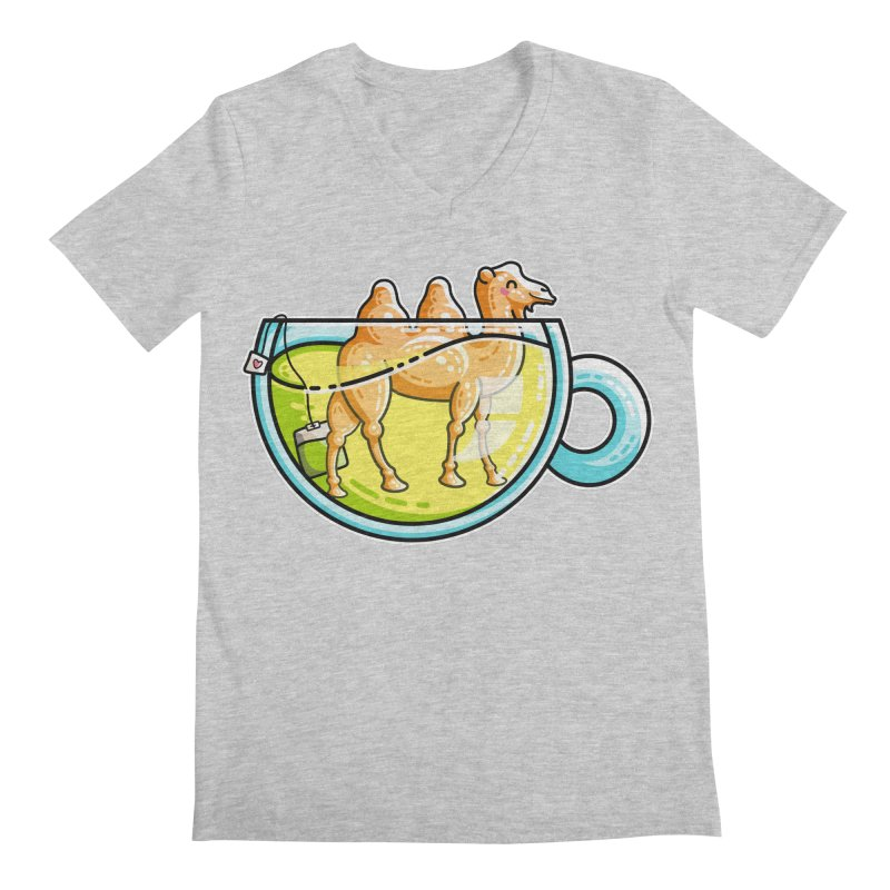 Camel-Mile-Tea Kawaii Cute Chamomile Tea Pun Men's Regular V-Neck by Flaming Imp's Artist Shop
