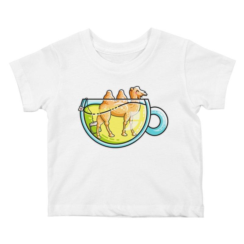 Camel-Mile-Tea Kawaii Cute Chamomile Tea Pun Kids Baby T-Shirt by Flaming Imp's Artist Shop