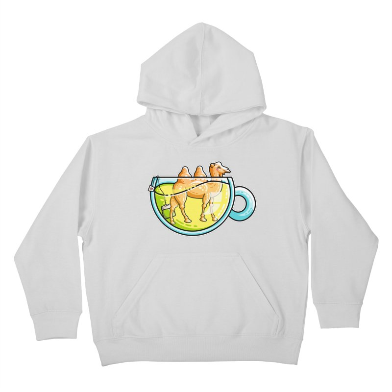 Camel-Mile-Tea Kawaii Cute Chamomile Tea Pun Kids Pullover Hoody by Flaming Imp's Artist Shop