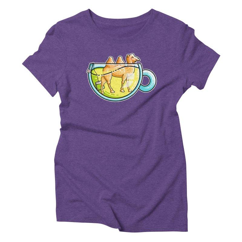 Camel-Mile-Tea Kawaii Cute Chamomile Tea Pun Women's Triblend T-Shirt by Flaming Imp's Artist Shop