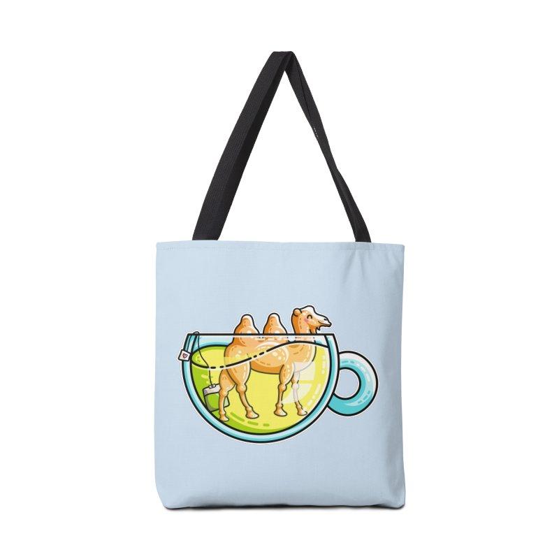 Camel-Mile-Tea Kawaii Cute Chamomile Tea Pun Accessories Tote Bag Bag by Flaming Imp's Artist Shop