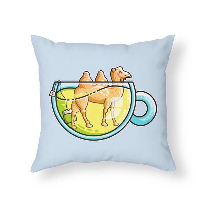 Camel-Mile-Tea Kawaii Cute Chamomile Tea Pun Home Throw Pillow by Flaming Imp's Artist Shop