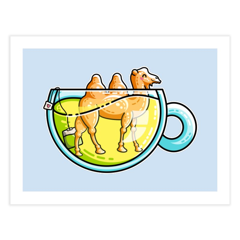 Camel-Mile-Tea Kawaii Cute Chamomile Tea Pun Home Fine Art Print by Flaming Imp's Artist Shop